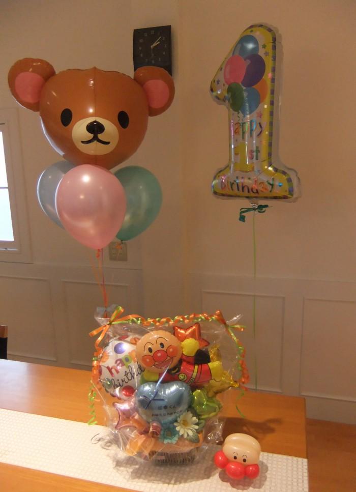 1歳のお誕生日のお祝いに。笑顔があふれるパーティーにバルーンはかかせません(^-^)