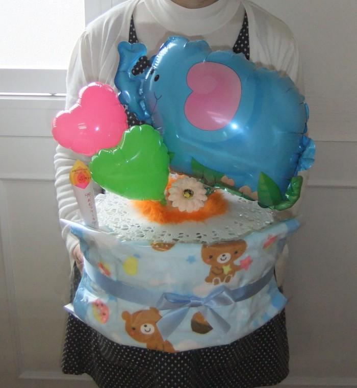 商品№ おむつケーキ1段 男の子用ぞうさん。お店で人気!フェイスタオル付きです。赤ちゃんのお名前 無料で入ります!